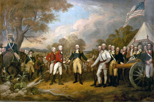 A portrait showing British General John Burgoyne surrendering to American General Horatio Gates at Saratoga.