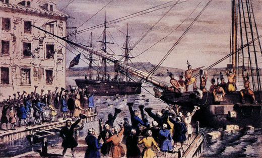 An iconic image showing tea being thrown overboard at Boston Harbour in 1773.