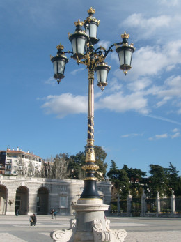 One of the huge ornate lamps that dot the courtyard