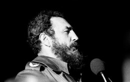 """""""Would the girls in bikinis who just came from the beach please move to the front!"""" Castro speaking in Havana, 1978."""