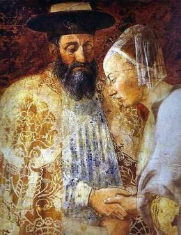 """Would you be my wife # 784, my dear?"" Artist Piero della Francesca, date 1452-1466: Legend of the True Cross - the Queen of Sheba Meeting with Solomon"