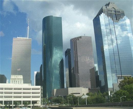 The Houston skyline. Houston is a great family vacation destination.