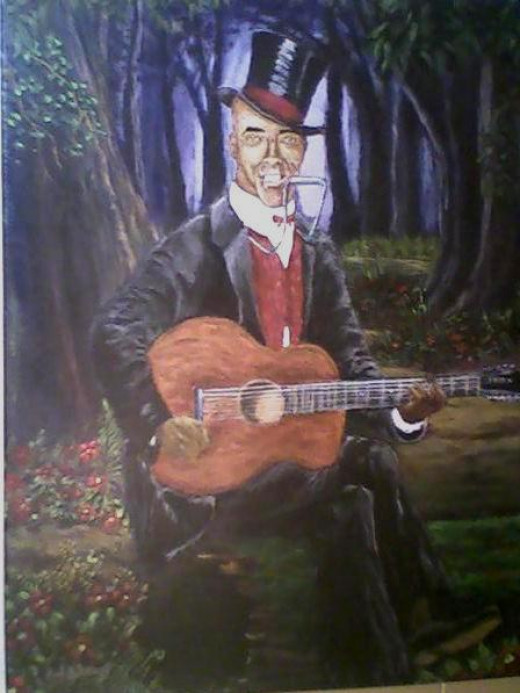 """Johnny Watson aka Daddy Stovepipe"" acrylic on canvas"