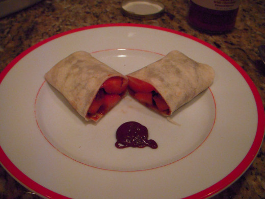Fruit burrito with chocolate and dulce de leche.