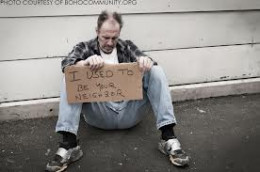 Homeless man not knowing where his next meal or living space is coming from.