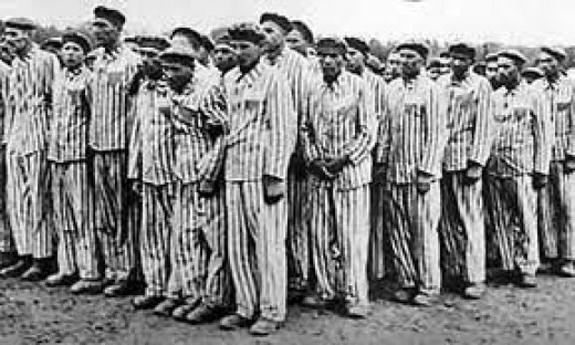 Concentration camp inmates in Germany during World War II. Life in such camps were oftentimes beyond horrendous. Very few people survived such camps.