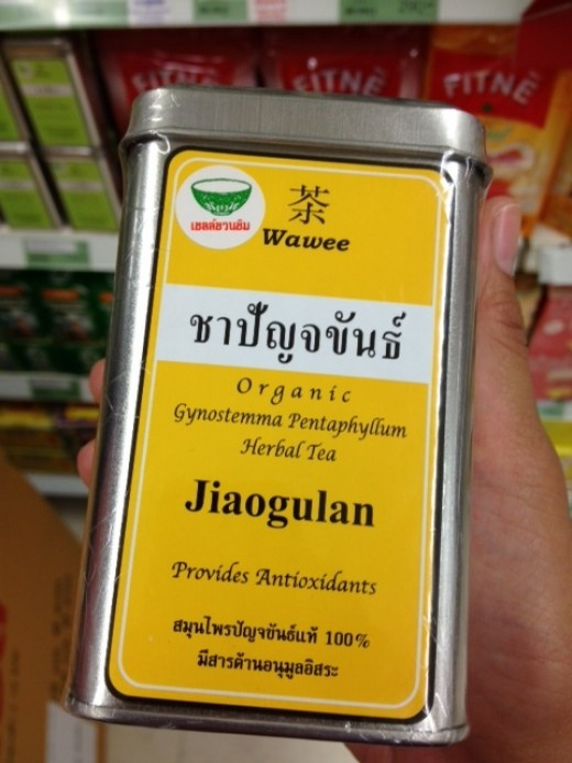 Here's one I found in a supermarket nearby. Good thing I don't have to go to China Town to get my daily fix of Jiaogulan.