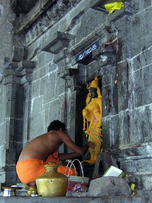 A 'pujari' adorns the stone statuette of Goddess Durga outside a temple in Kanchipuram with yellow turmeric paste.
