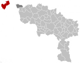 Map location of Comines-Warneton, Hainaut province, Belgium