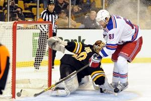 Rick Nash give Boston netminder Tuukka Rask reason to ponder an alternative career path after scorching him for a shootout goal in Beantown