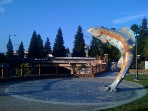 Statue near Santa Rosa Creek and the downtown park.  This creek runs the length of Santa Rosa and winds through business and residential areas.  Stringfellow mentions the creek in his song.