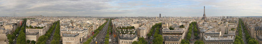 Jplavoie took this photograph of Paris, France from the Arc de Triomphe on April 26, 2006.
