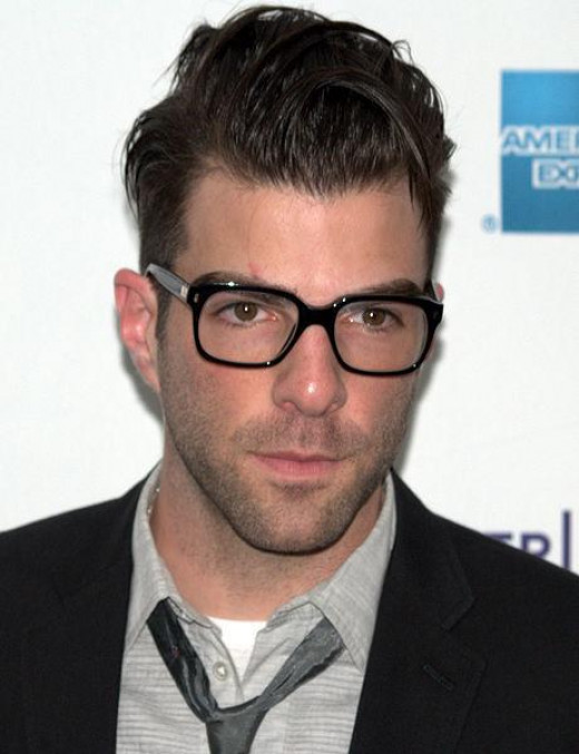 Zachary Quinto rocks the geek chic glasses really well.