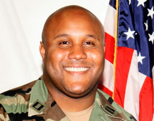 The ever-smiling image of former LAPD officer Christopher Dorner. Apparently the media just couldn't find any crazy photos of him on-par with James Holmes.