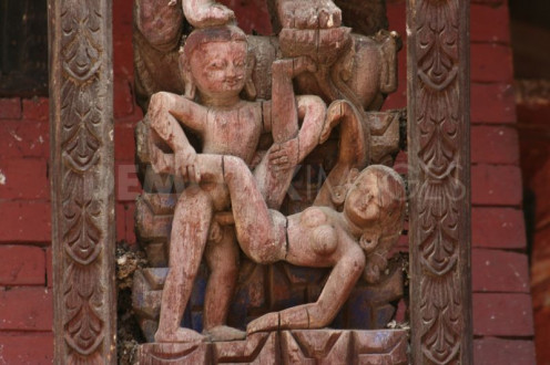 the erotic carving in Holy Hindu temples of Kathamandu
