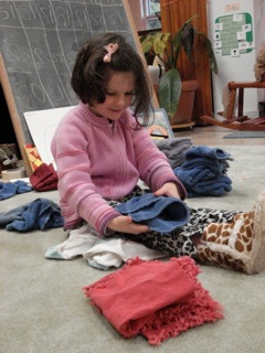 Children chores may include folding towels