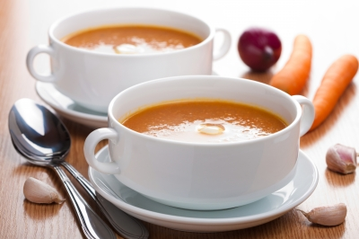 Ginger and carrot soup is gentle on the stomach, a great choice when you have the pregnancy queasies.