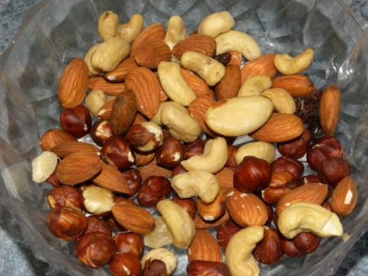 Almonds, cashew and hazelnuts.