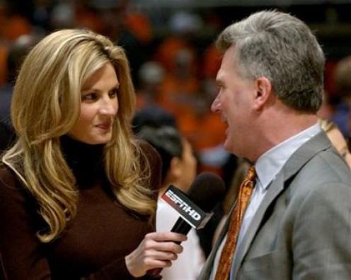 Erin Andrews interviews Illinois head coach Bruce Weber.