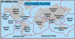 Where tectonic plates meet is where volcanoes erupt and fault lines are created.