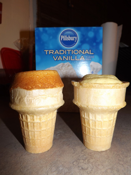 The cupcake on the left was made with Technique One, turning the cone upside down into batter. The right was made pouring the mix directly into the cone.