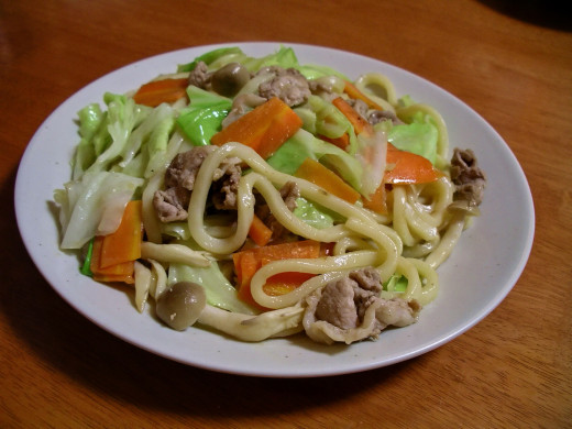 Yaki-udon - udon noodles served with meat and vegetables.