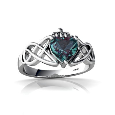 14k White Gold Created Alexandrite Celtic Knot Claddagh Ring