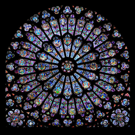 The north rose window of Cathédrale Notre-Dame de Paris was photographed by Krzysztof Mizera on August 5, 2008.