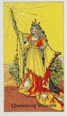 The Queen of Wands from the Robin Wood tarot (scanned image).