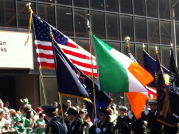 Old Glory and the Irish flag, side by side
