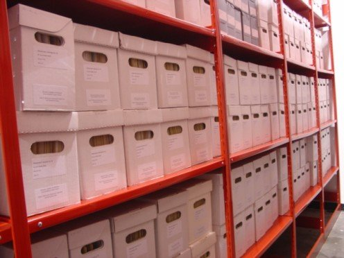 Archival boxes filled with medical history