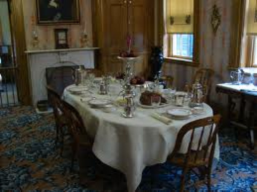 The dining room of the Galena home features china and other items from the Grant White House.