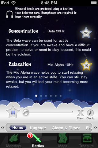 Relax Melodies has binaural beats that help boost relaxation or concentration!