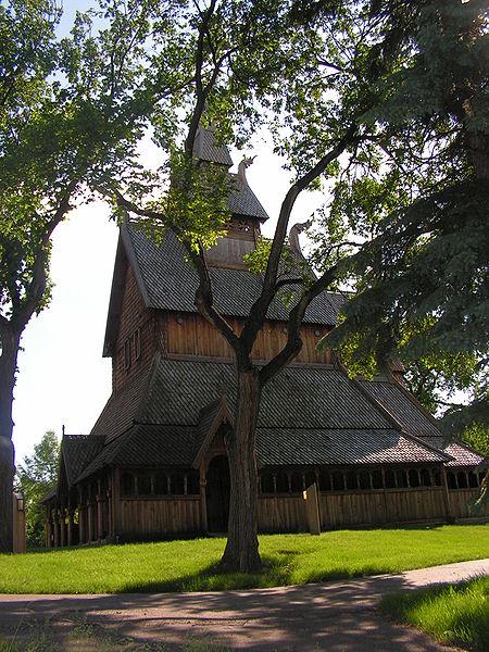 Replica Norwegian church at the Hjemkomst Center