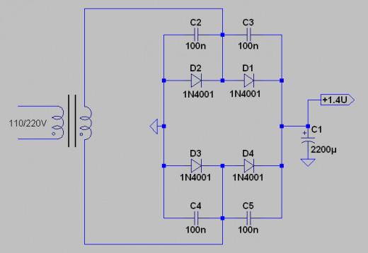 The basic full-wave bridge (Greatz) rectifier circuit.