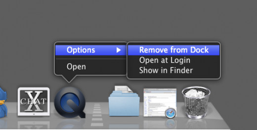 What the menu looks like when wanting to remove an application in the dock on a Mac.