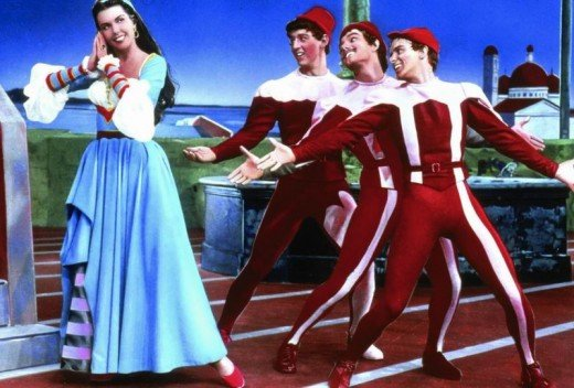 Ann Miller with Bobby Van, Tommy Rall and Bob Fosse in Kiss Me Kate (1953)