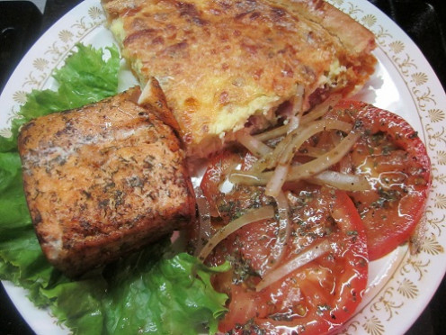 Quiche, salmon and salad dinner