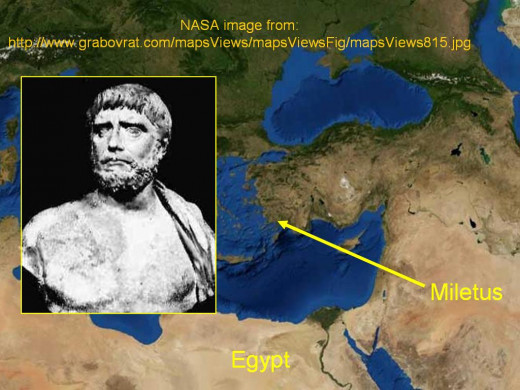bust of Thales, and the location of Miletus