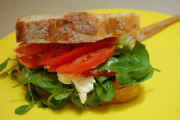 Use basil and other leafy herbs to liven up a tomato sandwich. (CC BY-SA 2.0)