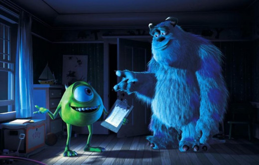 Mike (Billy Crystal) and Sully (John Goodman)prepare to spook unsuspecting kids in Pixar's Monsters, Inc. re-released in 3D