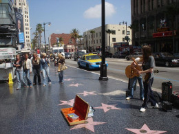 A band on Hollywood Boulevard