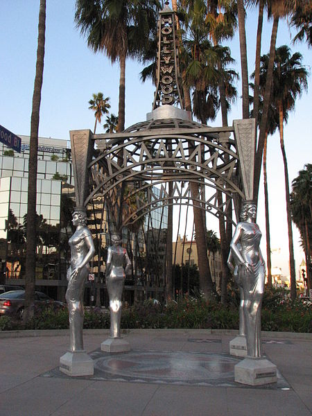 This is the canopy at the end of the Walk of Fame, carried by these sort of movie-star caryatides. Intersection of Hollywood Boulevard and La Brea Avenue.