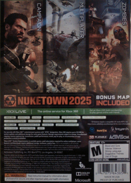 A video game's rating, content and more are found on the back of the game box.