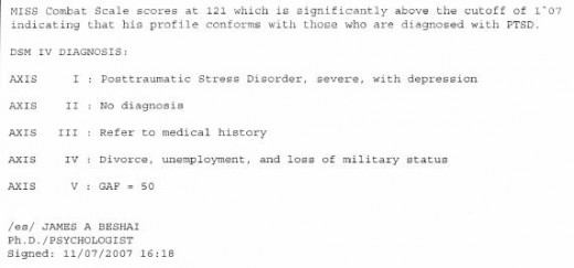 PTSD Diagnosis November 2007