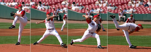 A Major League pitcher's pitching motion