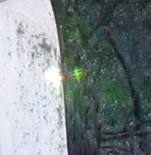 This is a close up of the third light creature from the previous photograph.  Notice that the light patterns are also the same as the two in the first photograph.