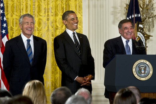 Chuck Hagel, Departing Defense Secretary Leon Panetta, President Obama