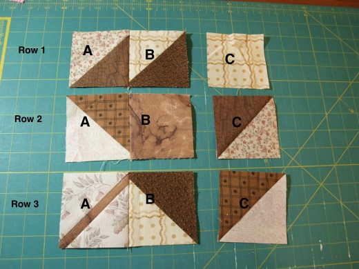 Sew square a to square b in all 3 rows.