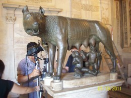 The Capitoline Wolf, nursing Romulus and Remus, the founders of Rome. This picture was in my history book in elementary school. The statue is found in the Capitoline Museum.